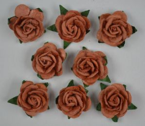 1.5cm COFFEE BROWN Mulberry Paper Roses (only flower head)